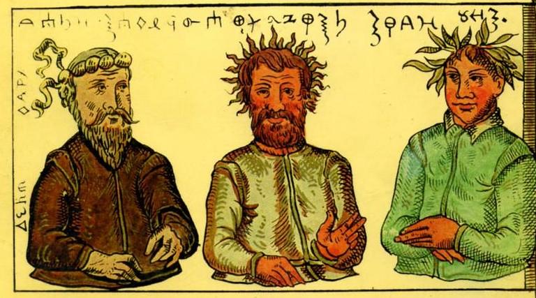 Prusu-dievu-trejybu-Patolas-Perkūnas-Patrimpas-S.Grunau-XVI